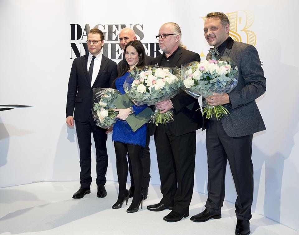 H.K.H. Prins Daniel, Micael Bindefeld och årets stipendiater Sara Sommerfeld, Örjan Henriksson och Johan Romin